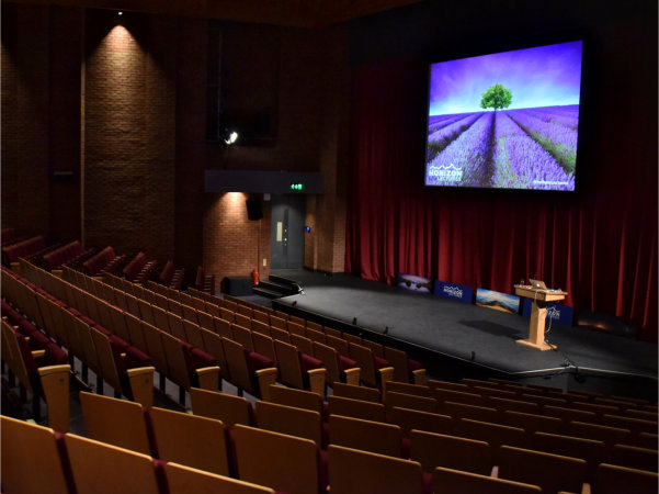Image of the Amey Theatre before a Horizon Lectures event.