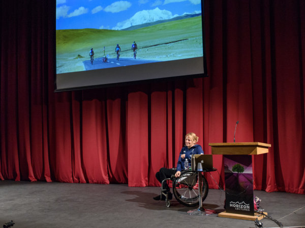 Image of Karen Darke on stage at Horizon Lectures