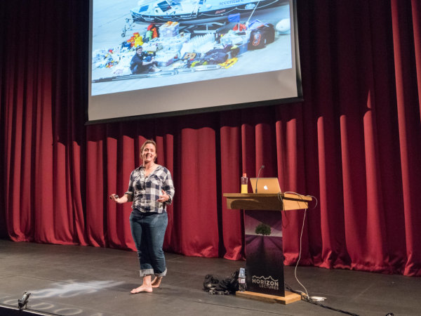 Image of Sarah Outen on stage at Horizon Lectures